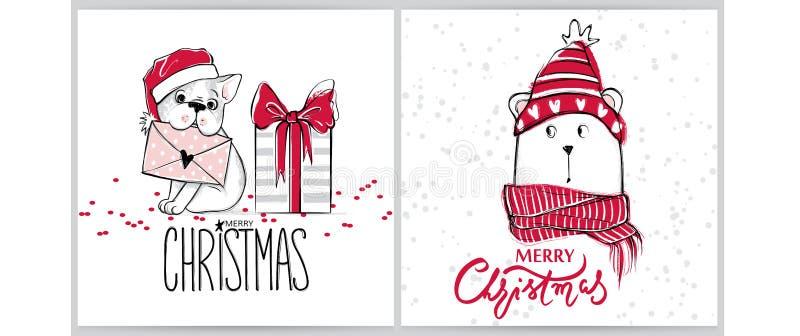 Vrolijke Kerstmis 2018 inzameling met leuke groetkaarten Grappig draag en Frans buldogpuppy Vector Gelukkig Nieuwjaar stock illustratie
