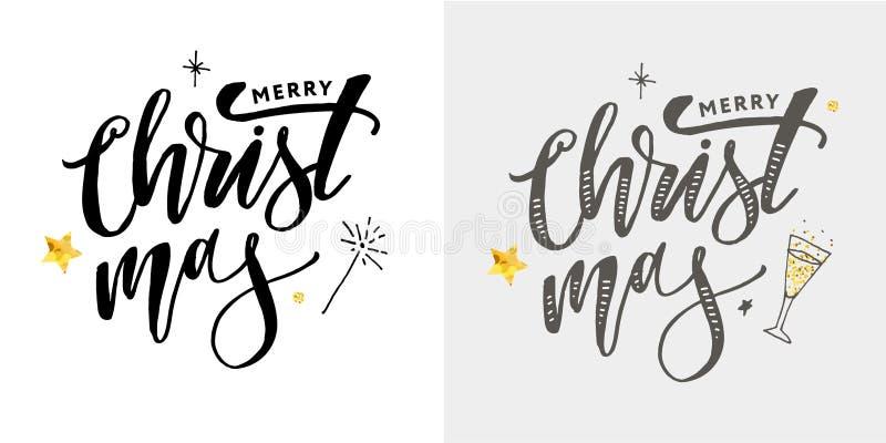Vrolijke Kerstmis Kalligrafische die Inschrijving met Gouden wordt verfraaid stock afbeelding