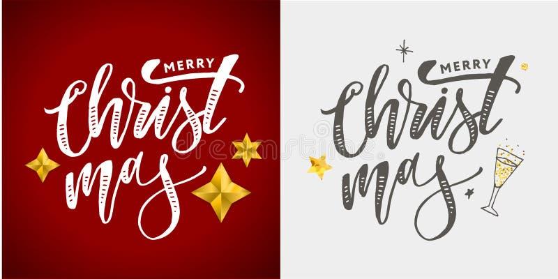 Vrolijke Kerstmis Kalligrafische die Inschrijving met Gouden wordt verfraaid stock foto
