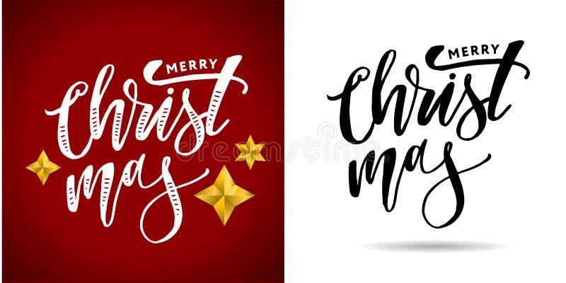 Vrolijke Kerstmis Kalligrafische die Inschrijving met Gouden wordt verfraaid royalty-vrije stock foto