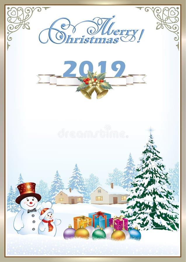 Vrolijke Kerstmis 2019 Kerstboom en sneeuwmannen met giften vector illustratie