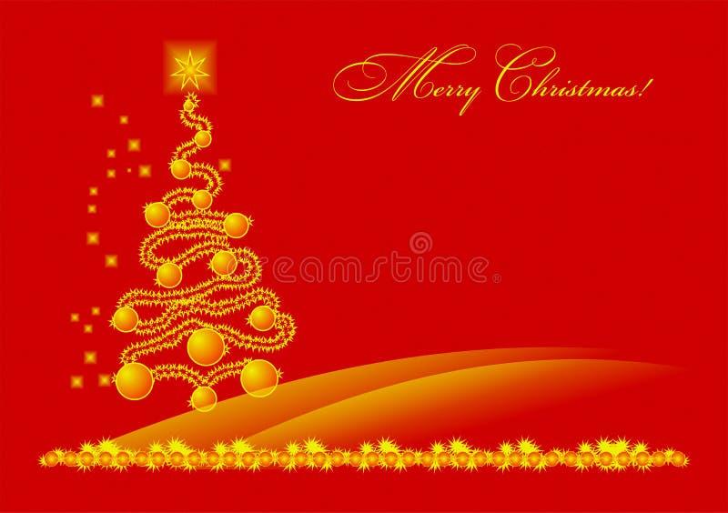 Vrolijke Kerstmis, Kerstboom, goud, geel op rood, gelukkig nieuw jaar, viering, congrats, vakantie, beste wensen vector illustratie