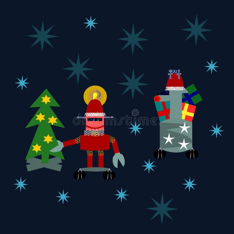 Vrolijke Kerstmis - Kerstman en rendierrobots royalty-vrije illustratie