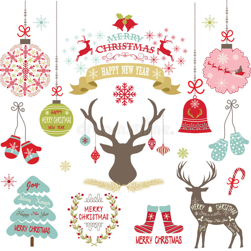 Vrolijke Kerstmis, Kerstmis bloeit, Herten, Rustieke Kerstmis, Kerstboom, de reeks van de Kerstmisdecoratie royalty-vrije illustratie
