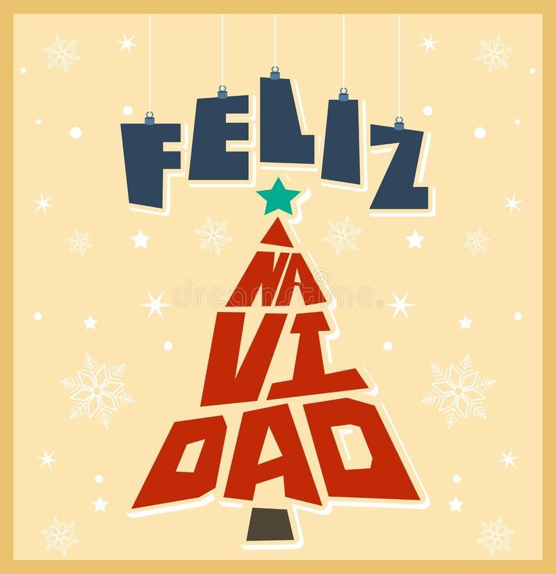 Vrolijke Kerstmis - Kerstmis Spaanse tekst vector illustratie