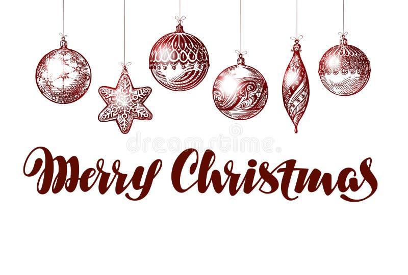 Vrolijke Kerstmis Kerstmisdecoratie en ballen Vector illustratie royalty-vrije illustratie