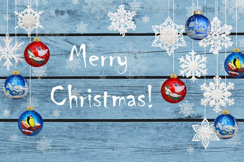 Vrolijke Kerstmis! Kerstmisdecoratie: sneeuwvlokken vector illustratie