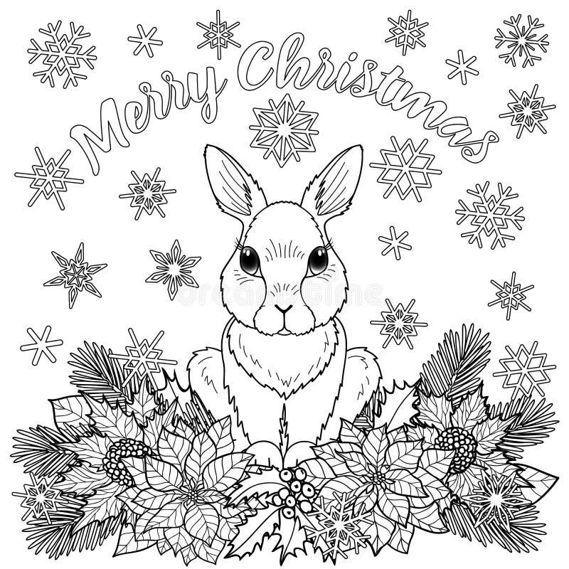 Vrolijke Kerstmis Kleurende Pagina met Konijn royalty-vrije illustratie