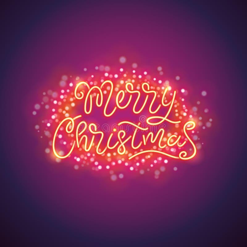 Vrolijke Kerstmis Kleurrijke Affiche met Magische Fonkelingen vector illustratie