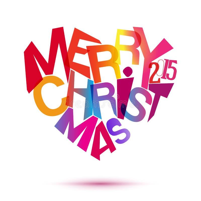Vrolijke Kerstmis kleurrijke typografie bij hartvorm stock illustratie