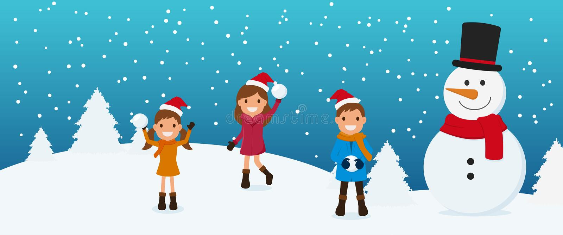 Vrolijke Kerstmis Leuke jonge geitjes en sneeuwman het spelen sneeuwbal in wintertijd stock illustratie