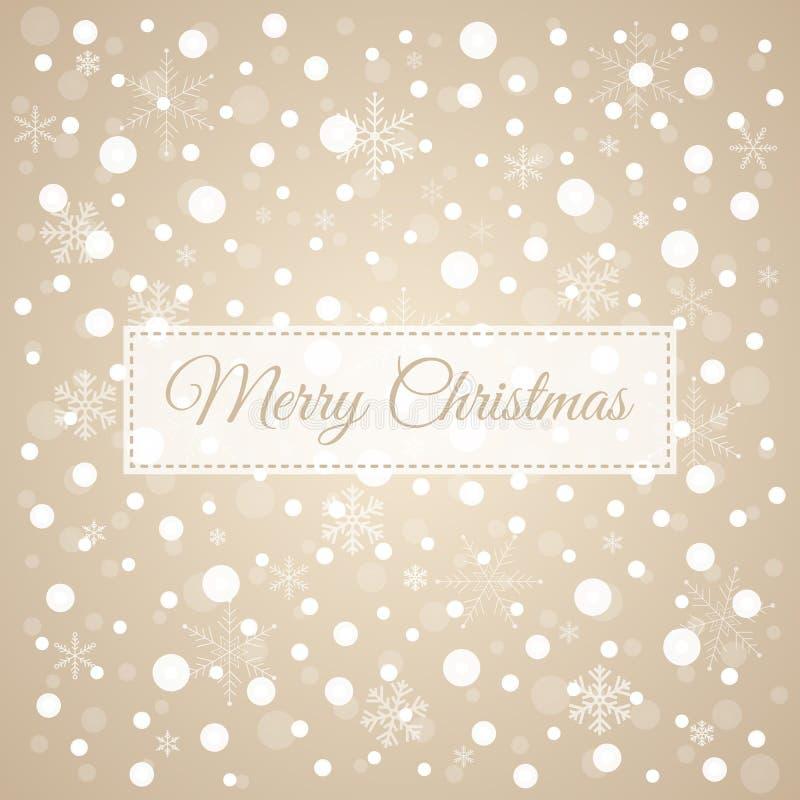 Vrolijke Kerstmis lichtbruine achtergrond met witte sneeuwvlokken, ve vector illustratie