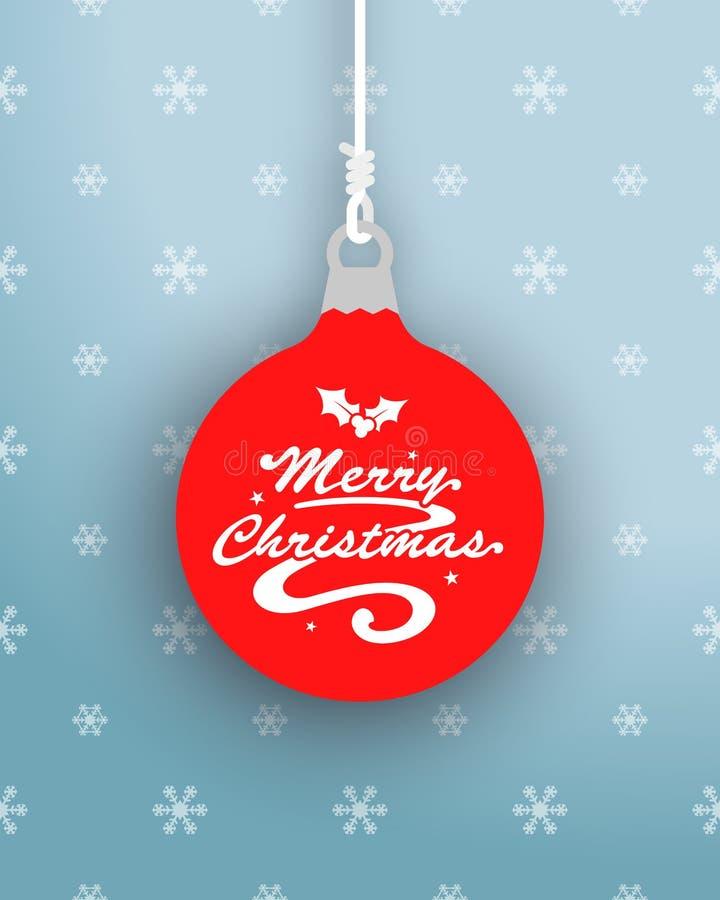 Vrolijke Kerstmis Logo On Hanging Bauble royalty-vrije illustratie