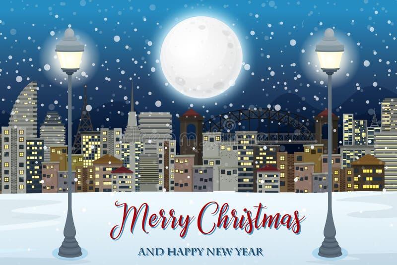 Vrolijke Kerstmis met cityscape stock illustratie