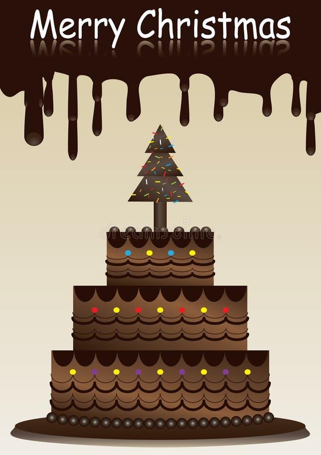 Vrolijke Kerstmis met de Cake van de Chocolade vector illustratie
