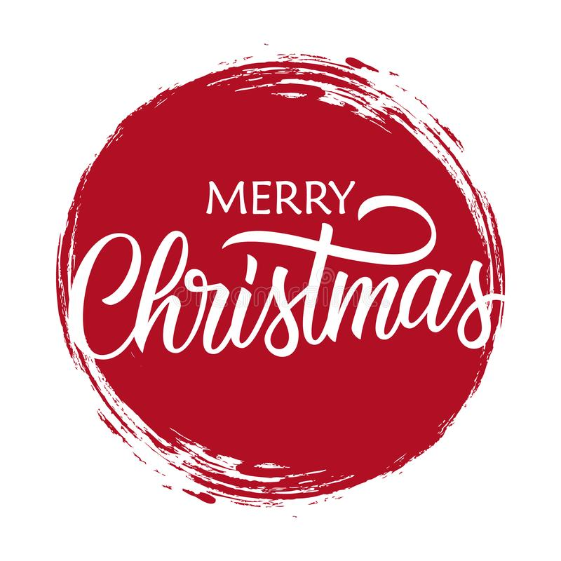 Vrolijke Kerstmis met de hand geschreven inschrijving op de rode achtergrond van de cirkelkwaststreek Creatief ontwerp voor de gr royalty-vrije illustratie