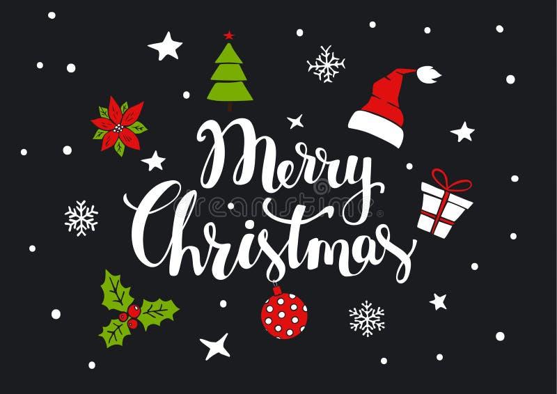 Vrolijke Kerstmis met de hand geschreven tekst met Kerstmisdecoratie als hoed van de Kerstman, giftvakje, pijnboomboom, bal, huls vector illustratie