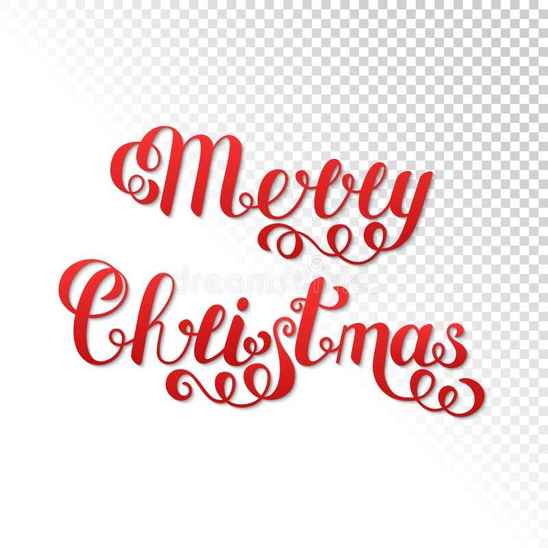 Vrolijke Kerstmis Met de hand geschreven Van letters voorziende Rode die Tekst wordt geïsoleerd trans royalty-vrije illustratie