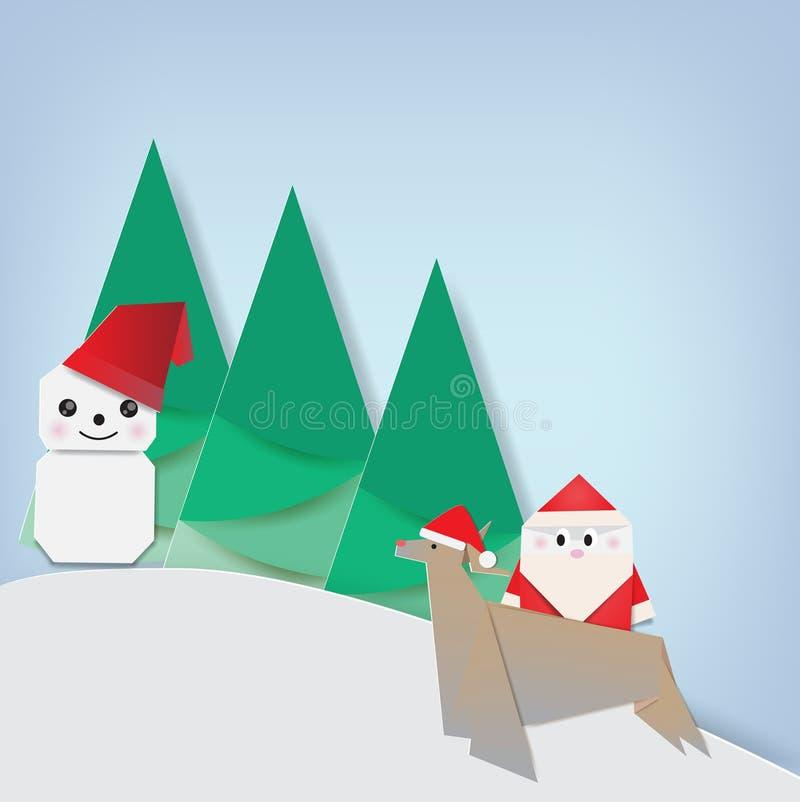 Vrolijke Kerstmis met Japanse origami royalty-vrije illustratie