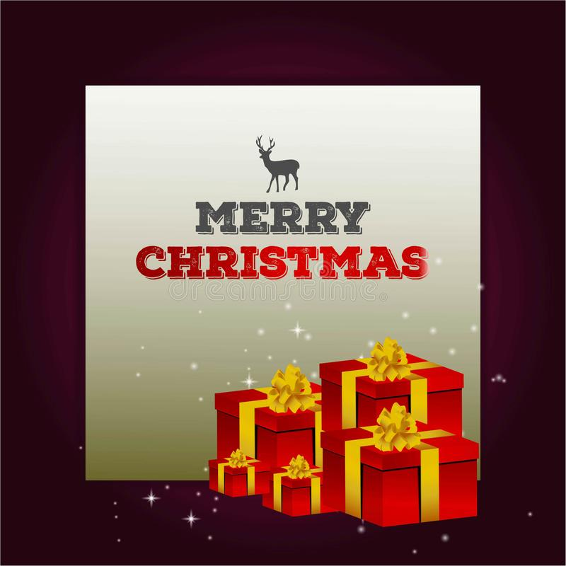Vrolijke Kerstmis met rendier en giftboxes stock illustratie