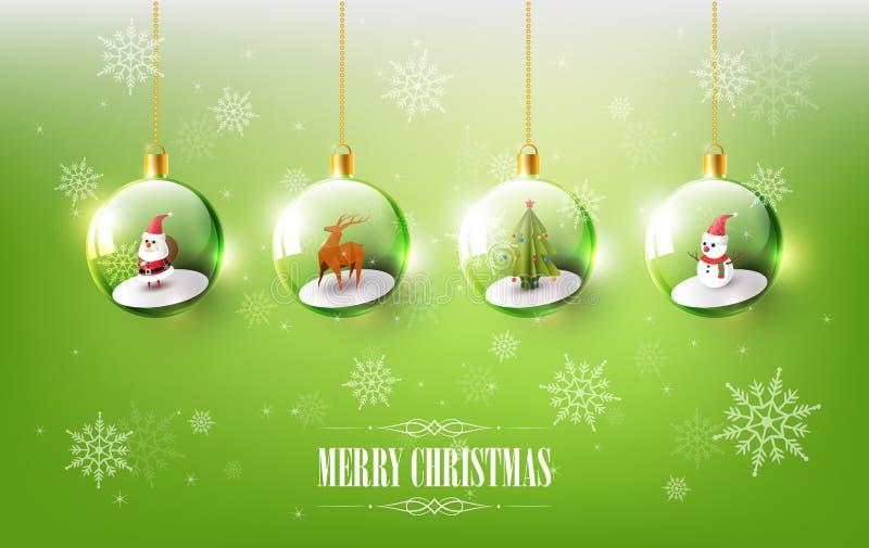 Vrolijke Kerstmis met Santa Claus, Sneeuwman en Rendier in Kerstmisbal, Hangende Kerstmisbal op groene Sneeuwvlokachtergrond stock illustratie