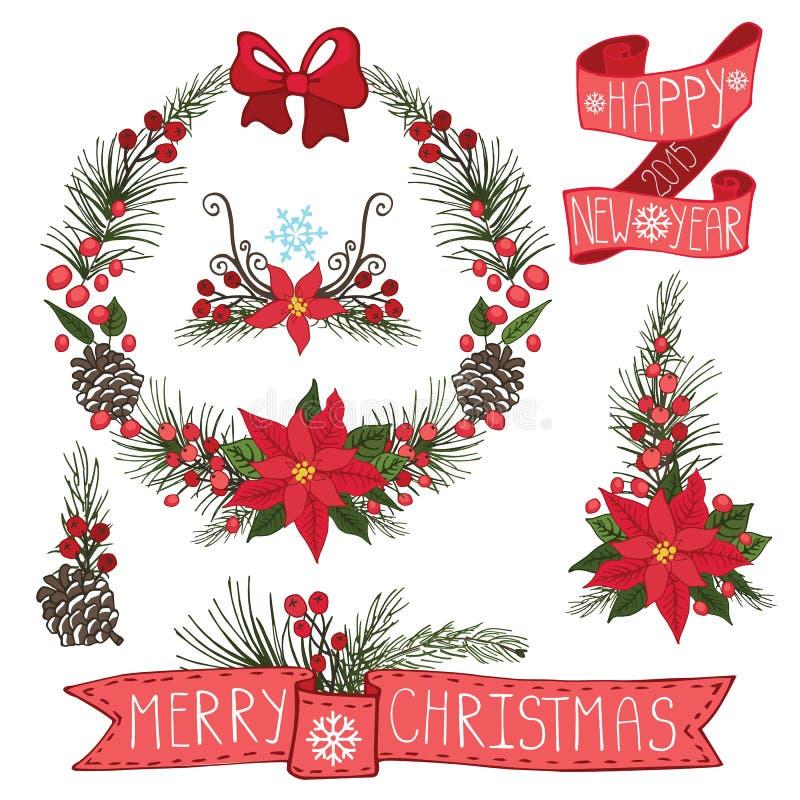 Vrolijke Kerstmis, Nieuwjaarkroon, linten, groep royalty-vrije illustratie
