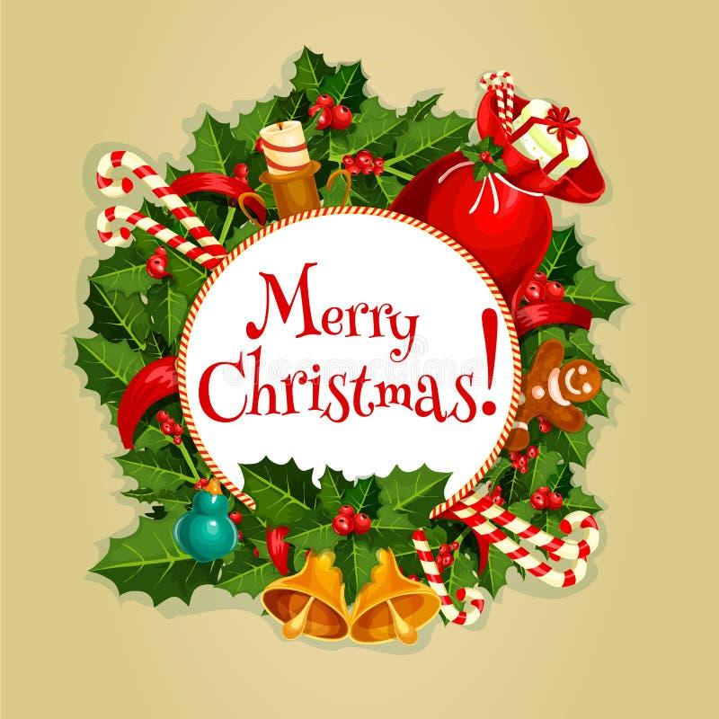Vrolijke Kerstmis om affiche met Kerstmisdecoratie vector illustratie