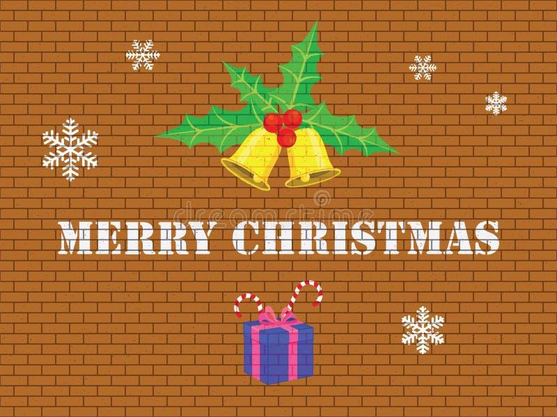 Vrolijke Kerstmis op bakstenen muur stock afbeeldingen