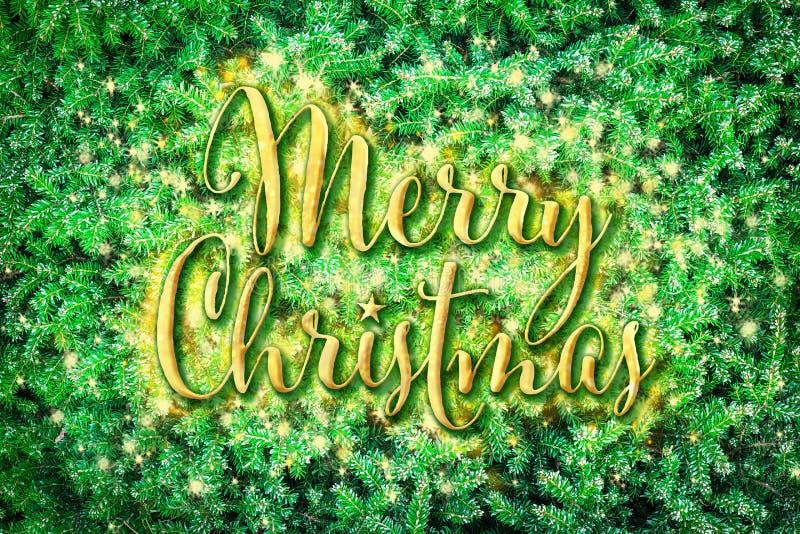 Vrolijke Kerstmis op de groene takken van de pijnboomboom royalty-vrije stock fotografie