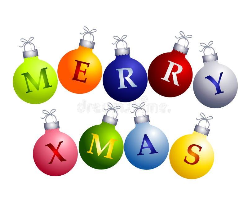 Vrolijke Kerstmis op Ornamenten royalty-vrije illustratie