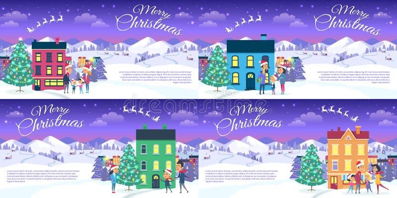 Vrolijke Kerstmis op Stad en Blauwe Hemelachtergrond vector illustratie