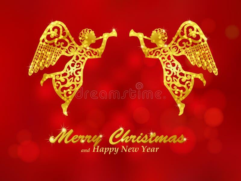 Vrolijke Kerstmis rode achtergrond met engelen vector illustratie