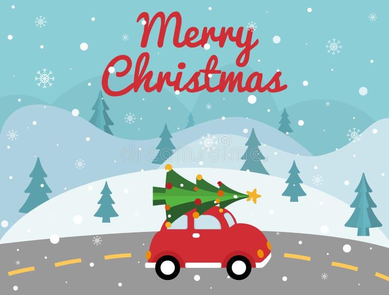 Vrolijke Kerstmis rode auto met Kerstmisboom op de bovenkant Kerstkaart met de winterlandschap, weg, retro bestelwagen, Kerstmisb royalty-vrije illustratie