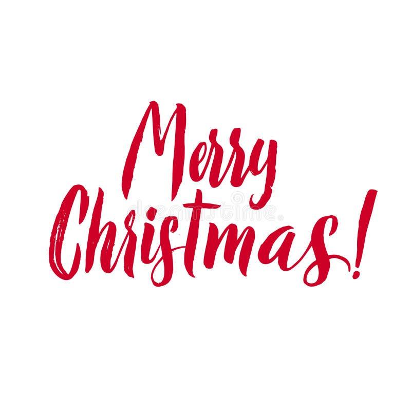 Vrolijke Kerstmis Rode die het Van letters voorzien Inschrijving, artistiek voor groetkaart wordt geschreven, affiche, druk, Webo royalty-vrije illustratie