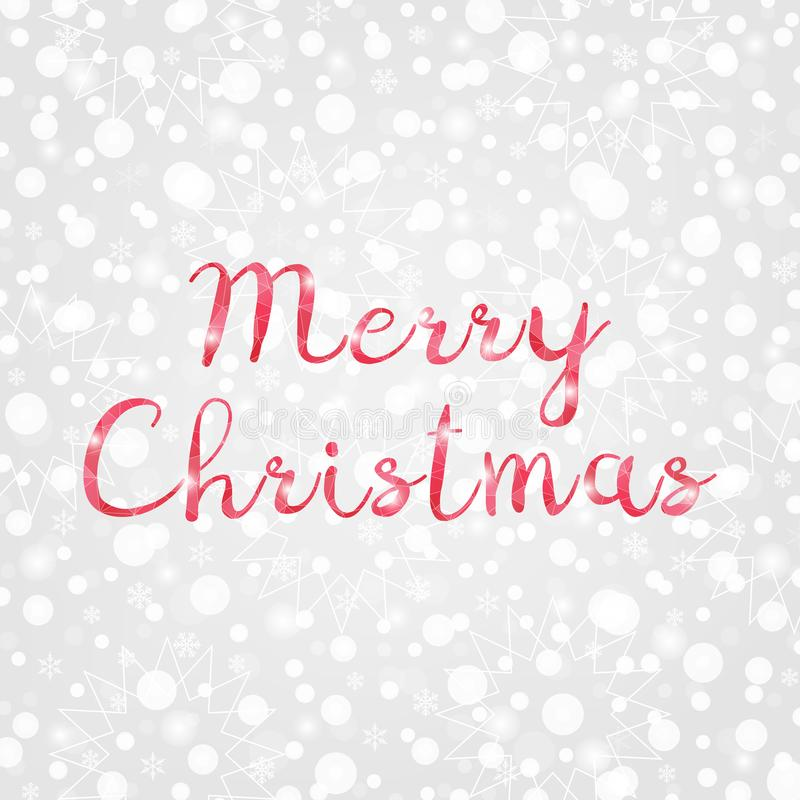 Vrolijke Kerstmis rode poly vectorillustratie Decoratieve grijze en witte gradiëntachtergrond met sneeuwvlokken, fonkelingen, lic vector illustratie