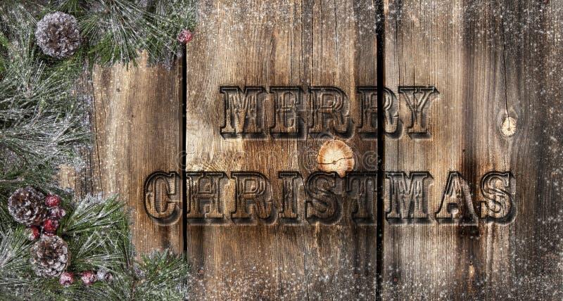 Vrolijke Kerstmis Rustieke Raad stock fotografie