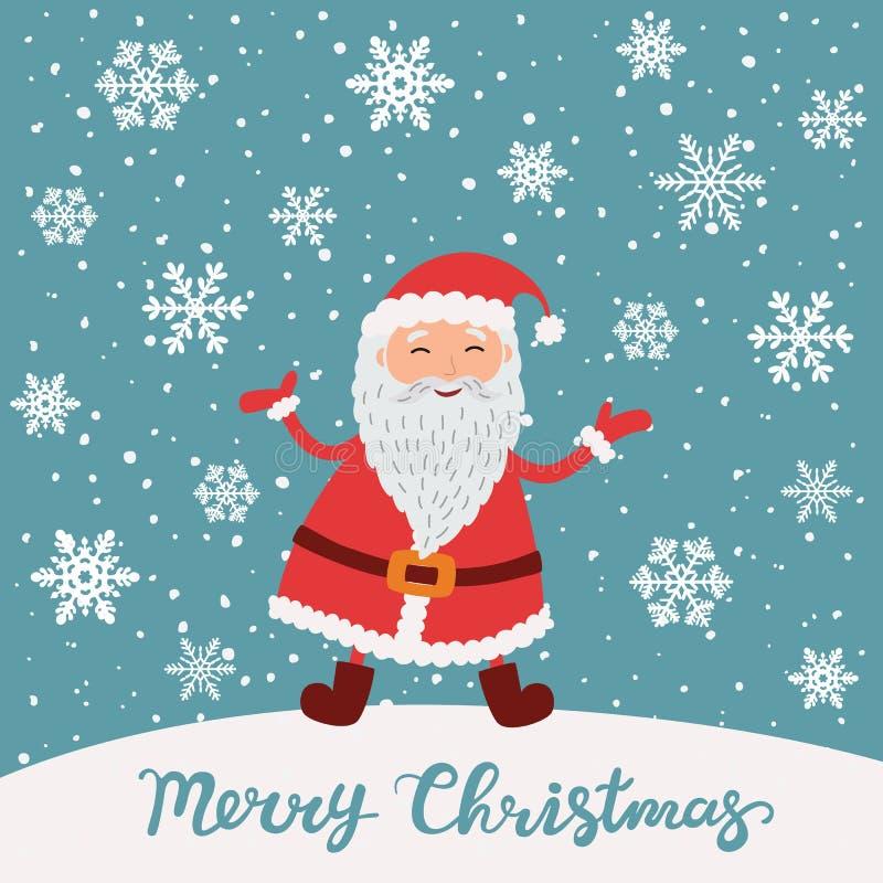 Vrolijke Kerstmis Santa Claus in de scène van de Kerstmissneeuw royalty-vrije illustratie
