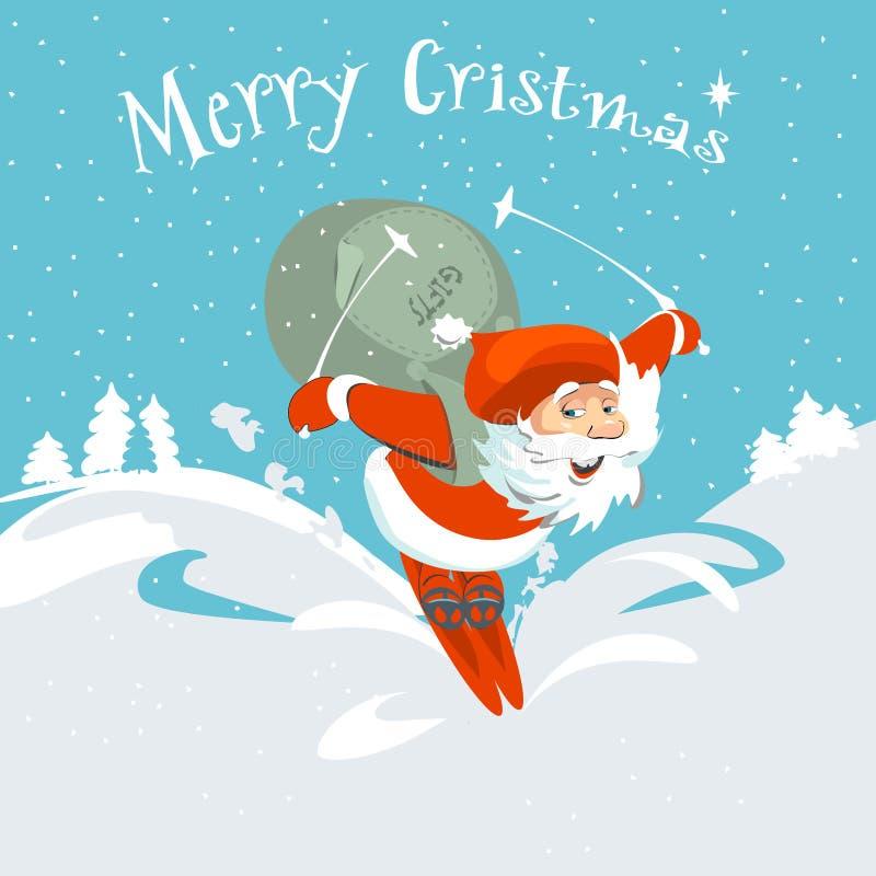 Vrolijke Kerstmis Santa Claus en hertenkaart stock illustratie