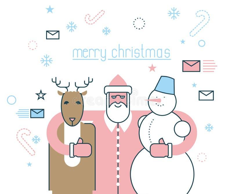Vrolijke Kerstmis Santa Claus en zijn vrienden Herten Rudolph en s stock illustratie