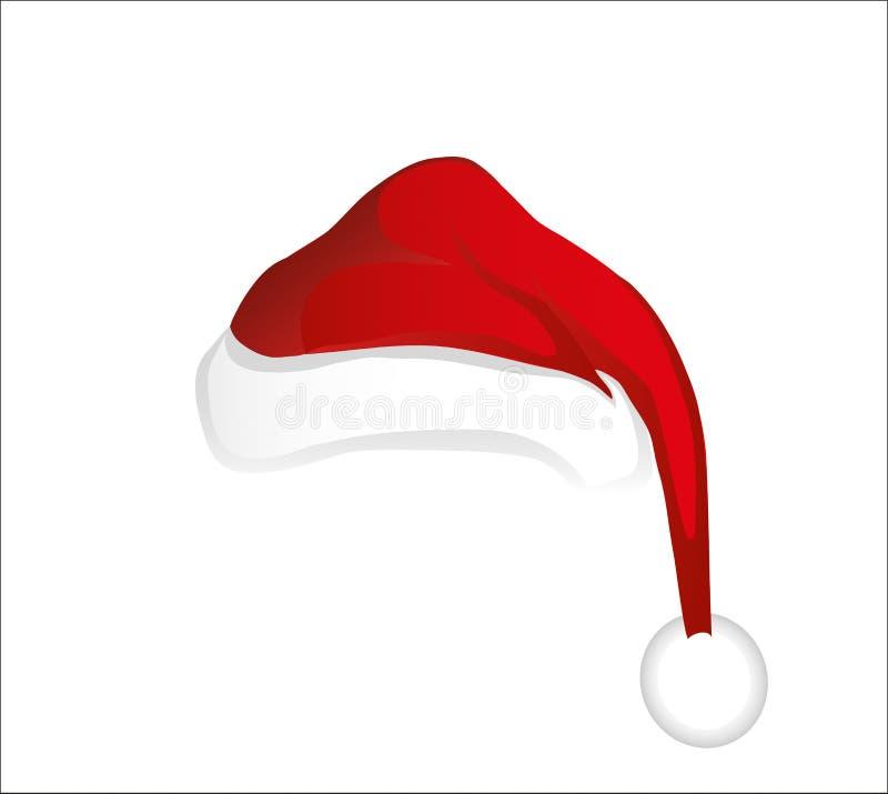 Vrolijke Kerstmis, Santa Claus-hoed Vector De kaart van de groet stock illustratie