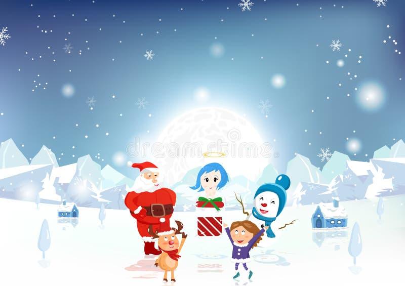 Vrolijke Kerstmis, Santa Claus, jong geitje, rendier, sneeuwman en engel w vector illustratie