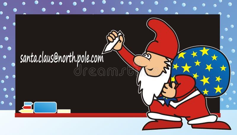 Vrolijke Kerstmis, Santa Claus met zak voorbord, vector grappige illustratie vector illustratie