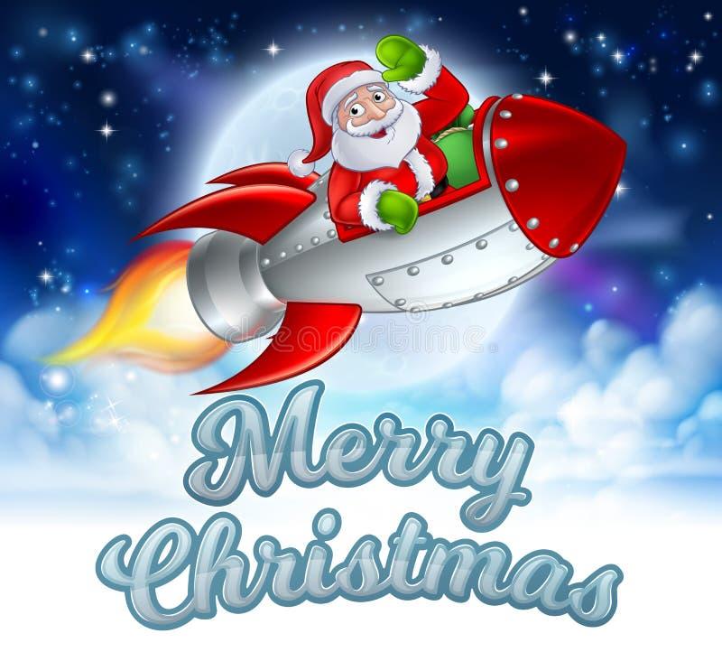 Vrolijke Kerstmis Santa Claus Rocket Cartoon royalty-vrije illustratie