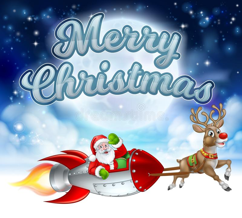 Vrolijke Kerstmis Santa Claus Rocket Sleigh vector illustratie