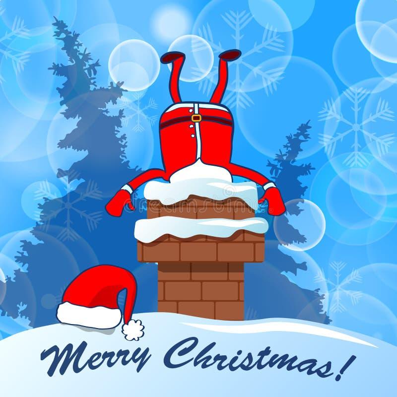 Vrolijke Kerstmis! Santa Claus in schoorsteen op een blauwe sneeuwwinst die wordt geplakt royalty-vrije illustratie