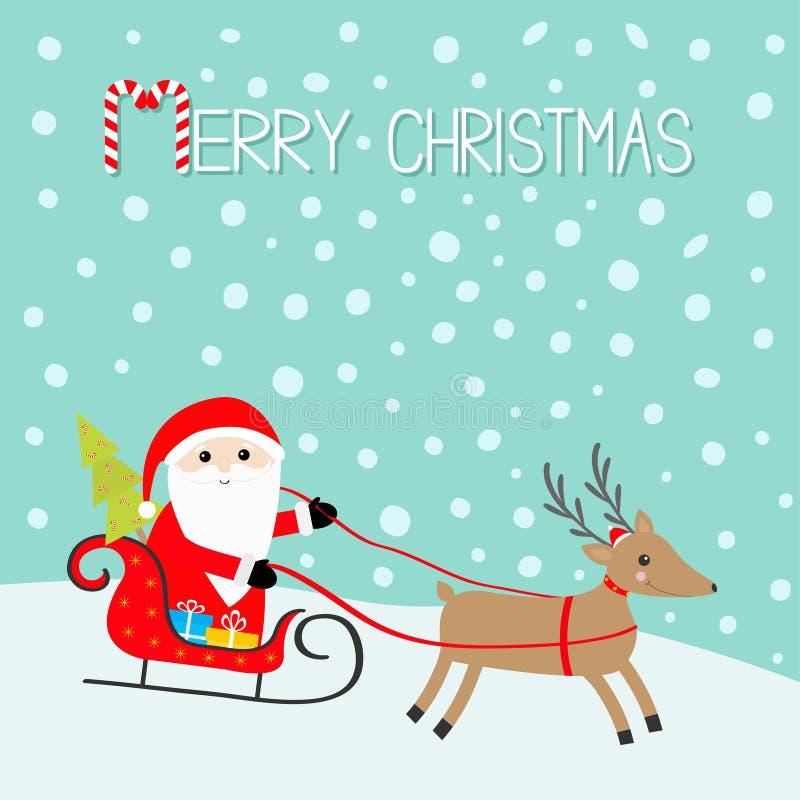 Vrolijke Kerstmis Santa Claus Sleigh-de doos van de sparren presetn gift Herten met hoornen, rode hoed, sjaal Gelukkig Nieuwjaar  stock illustratie