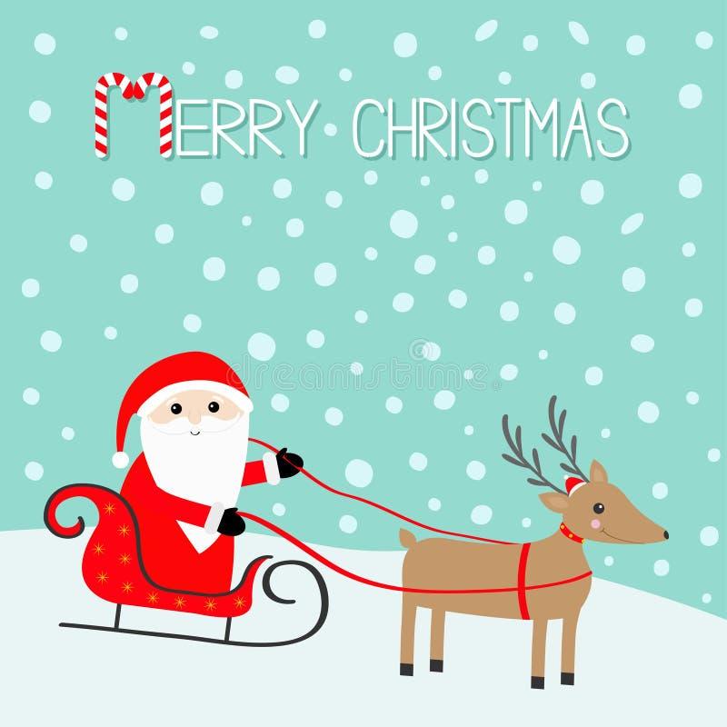 Vrolijke Kerstmis Santa Claus Sleigh Deer met hoornen, rode hoed, sjaal Gelukkig Nieuwjaar Leuk beeldverhaal reindeeer hoofd snow vector illustratie