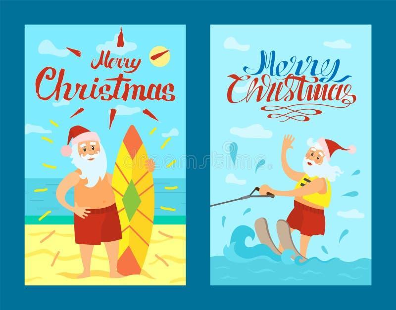 Vrolijke Kerstmis, Santa Claus, Surfende Raad, Kerstmis vector illustratie