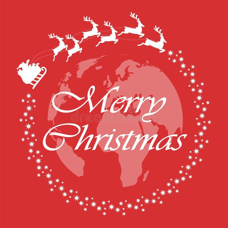 Vrolijke Kerstmis Santa Claus-vliegen rond de wereld Kerstmistak en klokken Vector illustratie stock illustratie