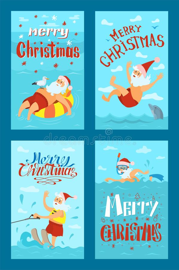 Vrolijke Kerstmis Santa Claus Water Activities, Rust vector illustratie